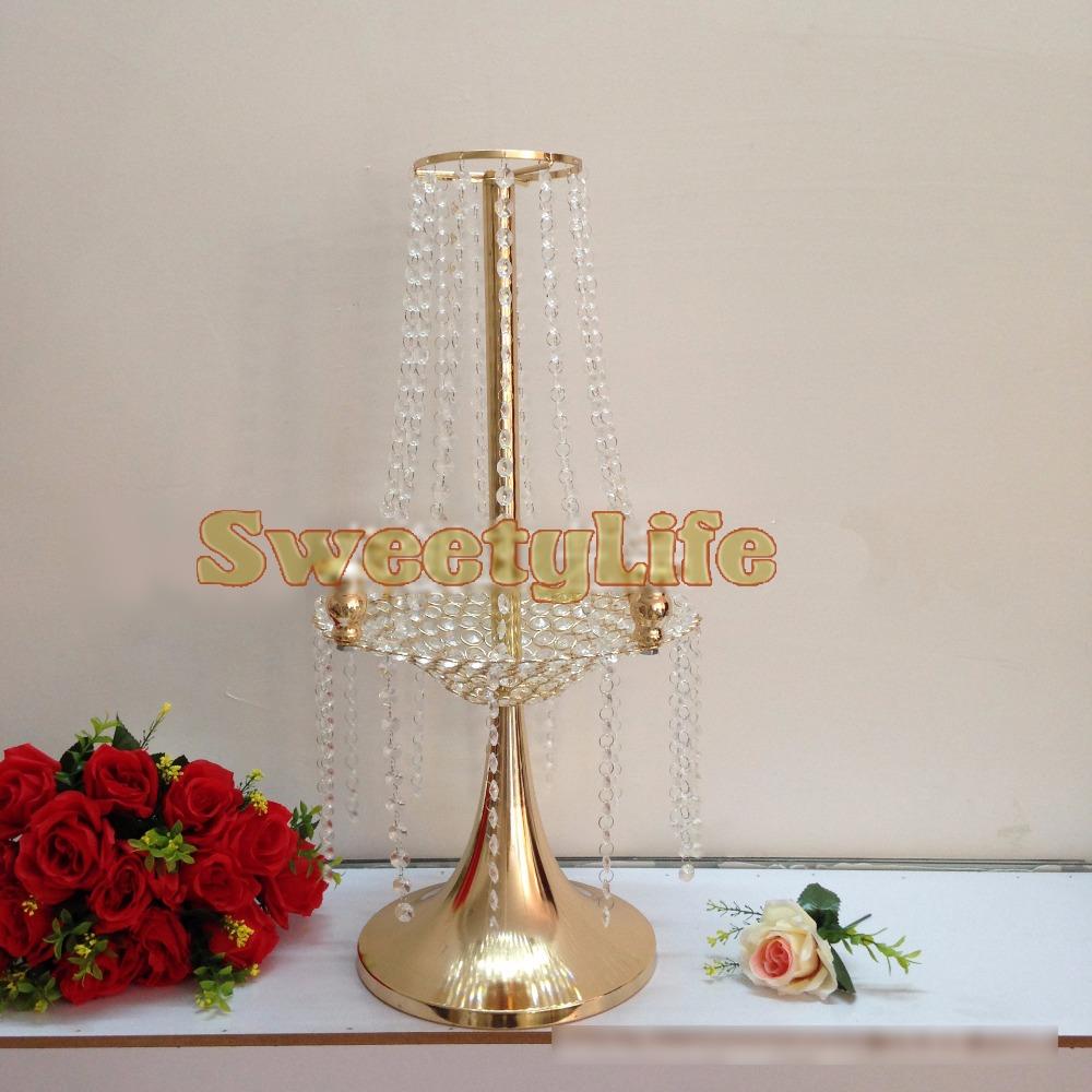8 pcs lot 65cm H 30cm D crystal wedding road lead wedding table centerpiece gold flower