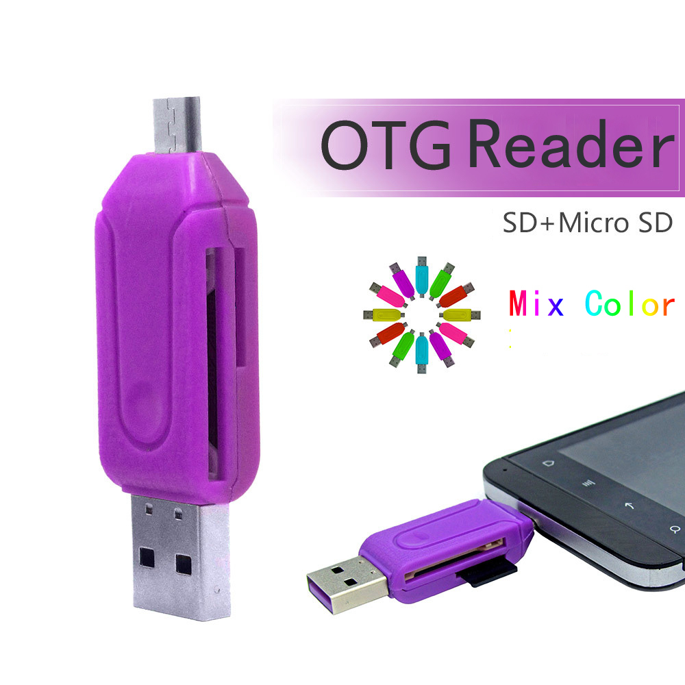 Guarantee Qaulity OTG Card Reader Universal Micro usb TF/SD Card Reader extension headers OTG adapter for Android Machine(China (Mainland))