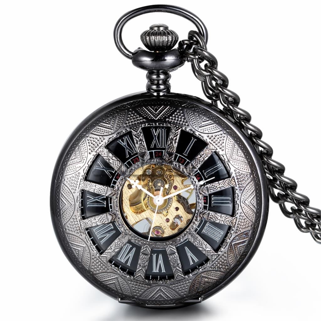 Vintage Antique Classic Steampunk Roman Dial Mechanical Skeleton Full Metal Mens Black Windup Pocket Watch with 37cm Chain(China (Mainland))
