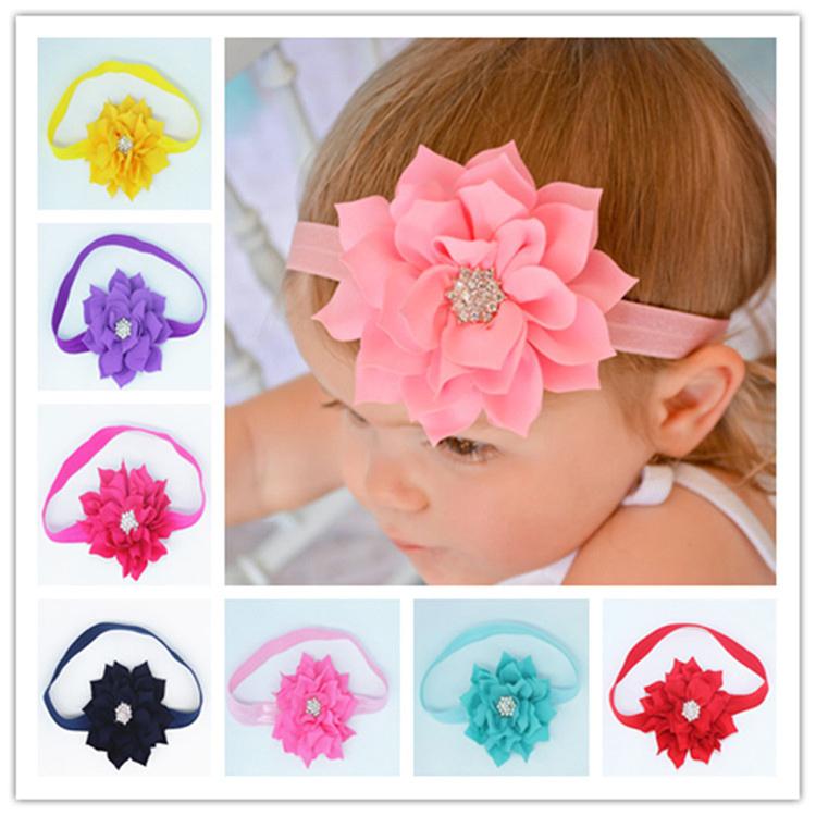 New Arrival fashion Children's Head Flower Hair Band Baby Head Hoop Lotus Leaf Diamond Head Band drop shipping(China (Mainland))