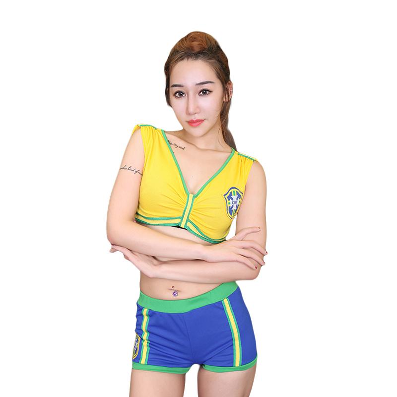 Many Style Fashion School Girls Football Cheerleaders Costumes Sexy Women Sport Costume 2pcs World Cup Costumes(China (Mainland))