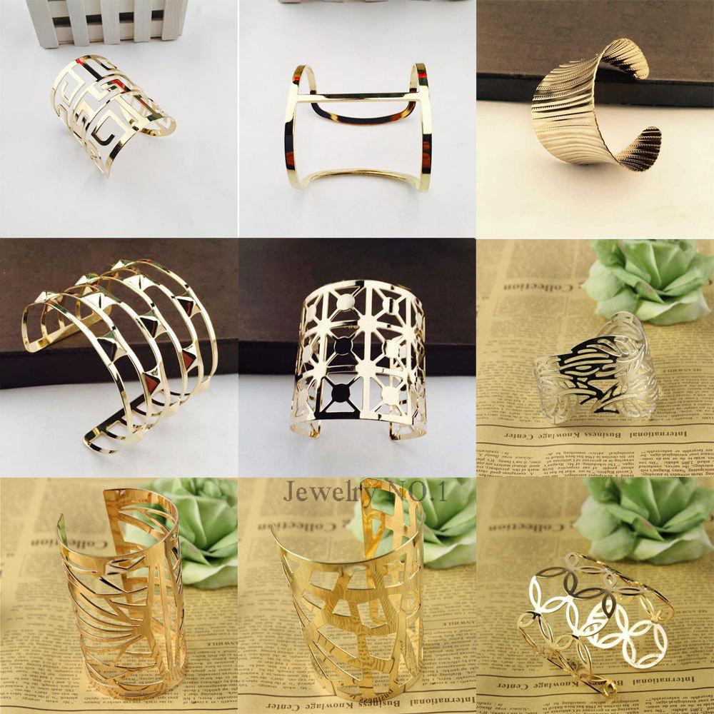 Women Unisex Charm Bracelets Fashion Vintage Bracelets Simple Geometric Style Pop Punk Metal Bracelet Gold Bangles 12 Kinds(China (Mainland))