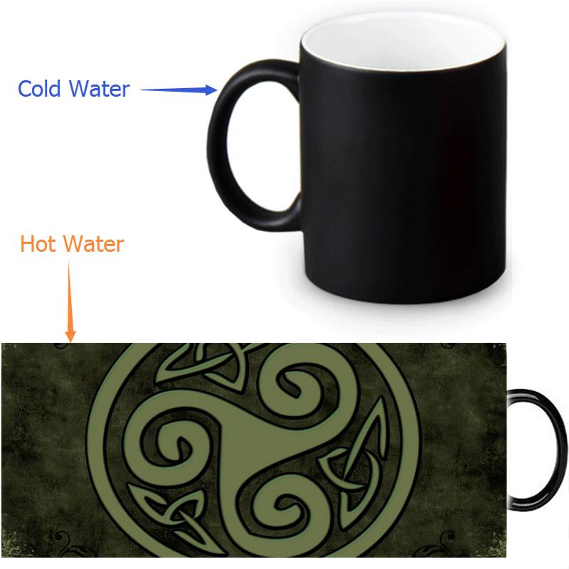 Keltic Cross magic color changing coffee tea milk mug cup funny novelty travel custom morphing mugs 12 OZ/350ml(China (Mainland))