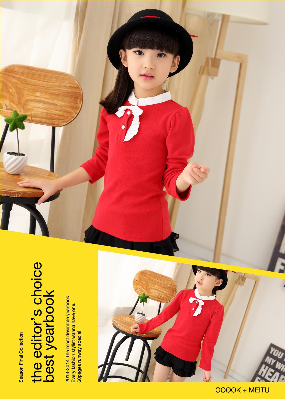 Children's Wear Bow Girls Winter  All-match Children Long Sleeved Shirt Blouse T-Shirt New South Korea Red Black
