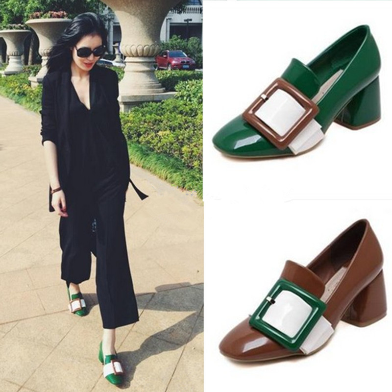 2016 Genuine Leather Plus Size 40 Green/Brown/Black Summer Women Pumps Square Toe Thick Heel Buckle Med-Heeled Party Dress Shoes<br><br>Aliexpress