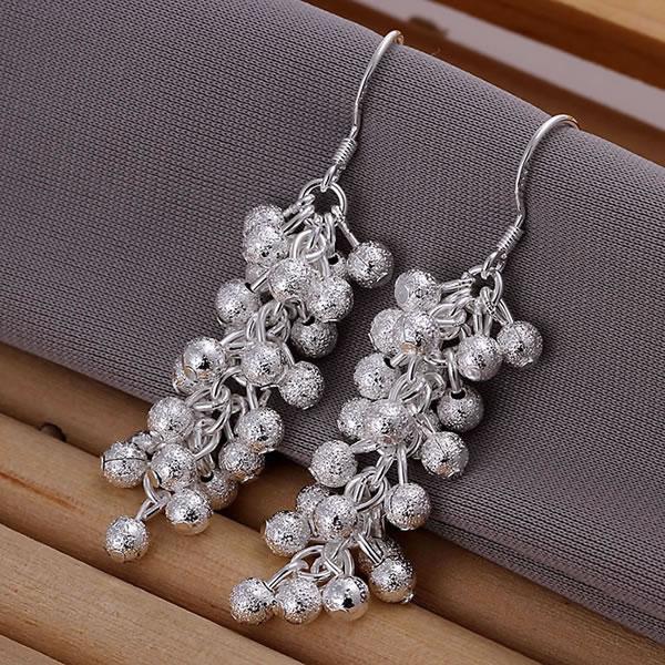 925 silver earrings 925 sterling silver fashion jewelry earrings beautiful earrings Polished Purple Bean Earrings(China (Mainland))