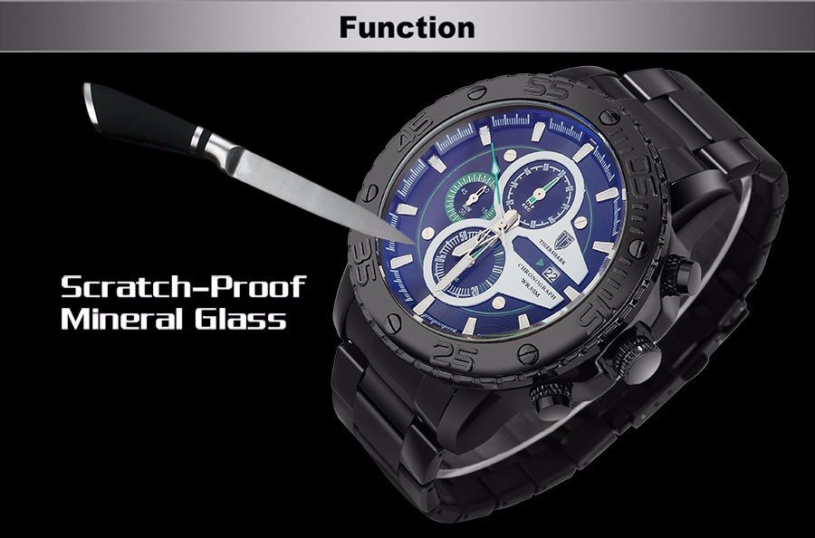 2016 new TIGERSHARK luminous black green dial watches men sport chronograph 30M waterproof date stainless steel wristwatches