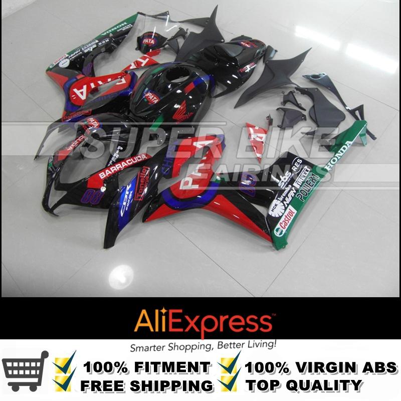 UV Excellent Painting Job BLACKRED-PATA Fairing Kit CBR600 RR 07 08 CBR600RR 2007 2008 For Honda Superbike(China (Mainland))