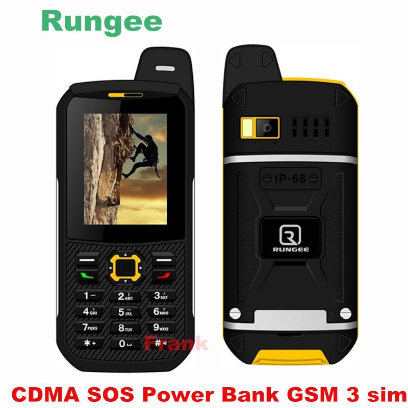 RunGee X1 IP68 Waterproof Phone 3 SIM Card GSM CDMA Bluetooth torch Power Bank Senior old man Phone FM XP6 Sonim DG22 L8 a12(China (Mainland))