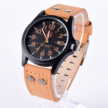Men's Fashion Sport Stainless Steel Watches Military Faux Leather Band Quartz Wrist Watch