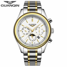 GUANQIN GQ12001 nailed Silver white Slim leisure business moon phase luminous waterproof sports quartz watch stainless steel