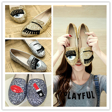 Size 33-47 luxury brand Big eyes flats silver shiny glitter thick soles brand women shoes sponge bottom shoes slip-on loafers(China (Mainland))