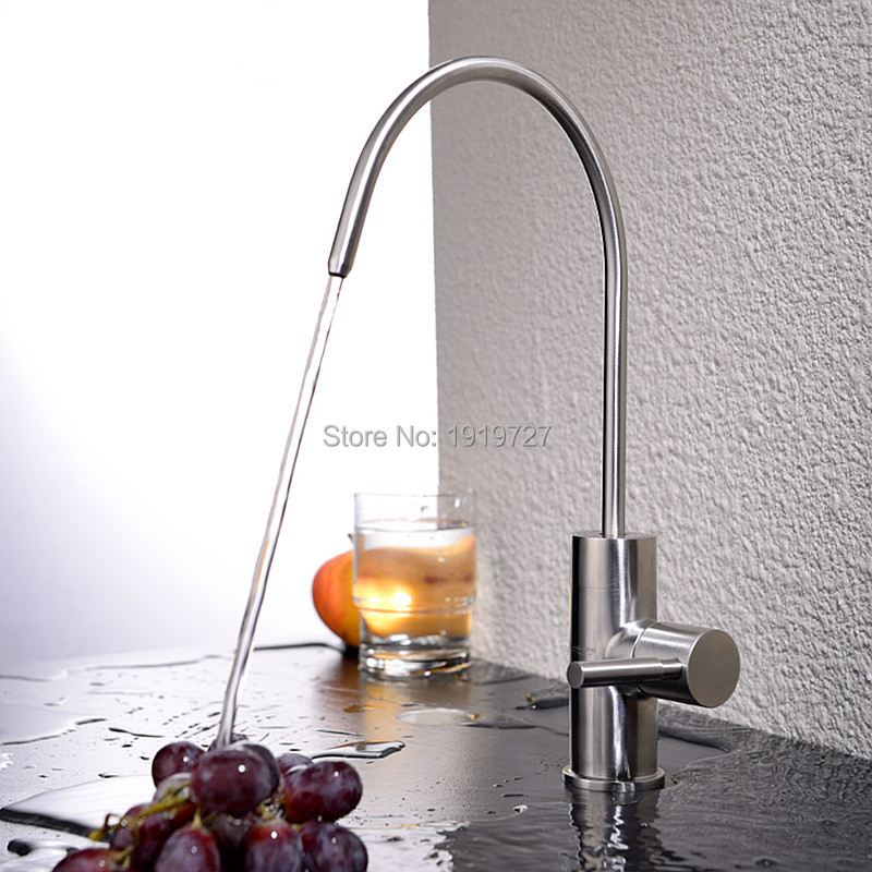 Best Modern Brushed Nickel Single Handle Kitchen Sink Dispenser Drinking Water Filter Faucet Stainless Steel Filtration Faucet(China (Mainland))