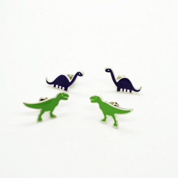 Trusta Smart Dinosaur Purple /Green earring stud ADW for Girls Kids Birthday Jewelry Wholesale High Quality