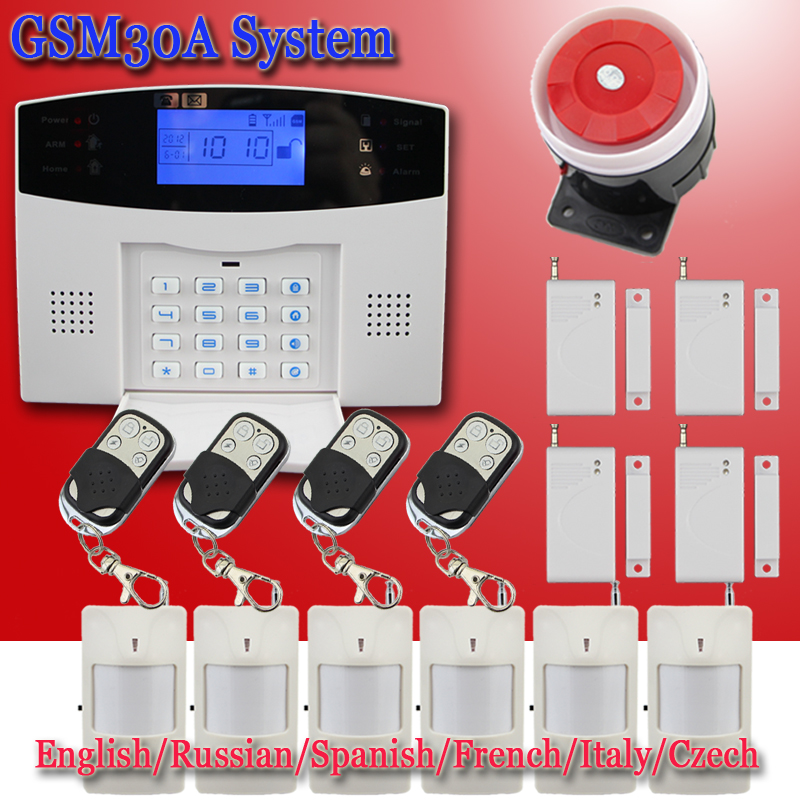 Free Shipping 6pcs PIR detector 433MHZ LCD Display Door Sensors Remote Control Home Security GSM Alarm systems Voice Prompt(China (Mainland))