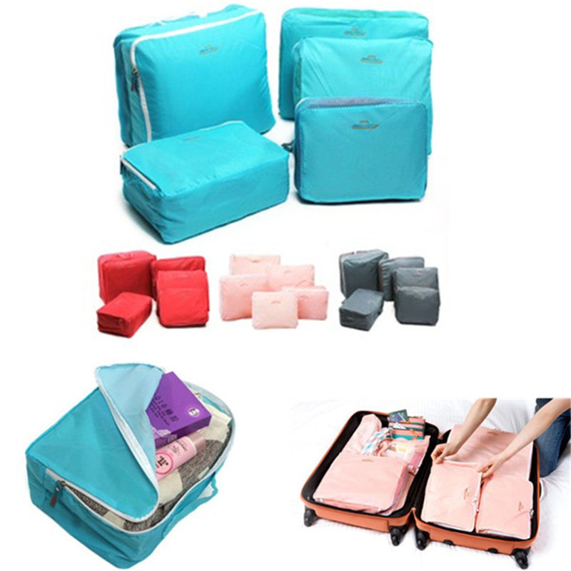 Hot Sell 5X Travel Storage Bag Luggage Clothes Tidy Organizer Pouch Suitcase Handbag Case Red Blue Pink Gray(China (Mainland))
