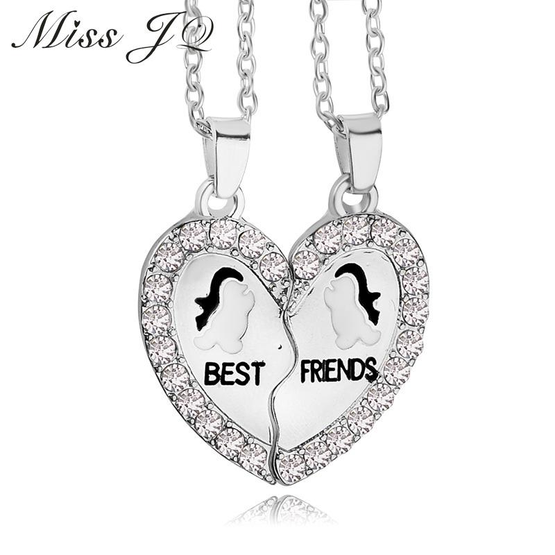"High Quality Animal Penguin ""best friend"" Austria Crystal Love Rhinestone Pendant Necklace Couple Gift Necklace 2 pcs/set(China (Mainland))"