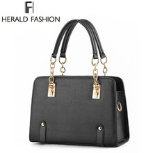 Buy Herald Fashion Luxury Women Handbag PU Leather Casual Tote Chain Handle Shoulder Bags Solid Hard Sequined Female Handbag for $18.77 in AliExpress store