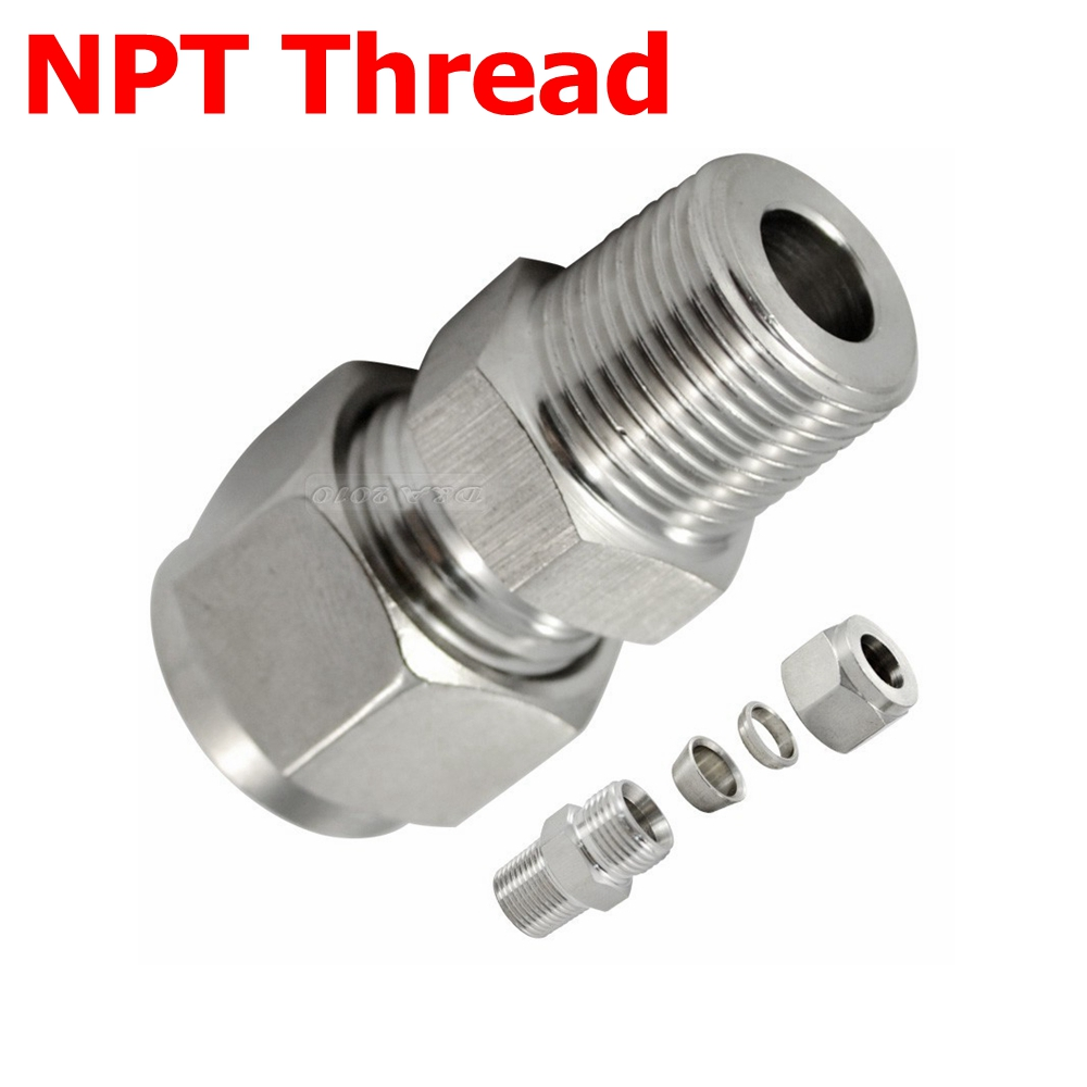 Pcs quot npt male thread mm od tube double ferrule