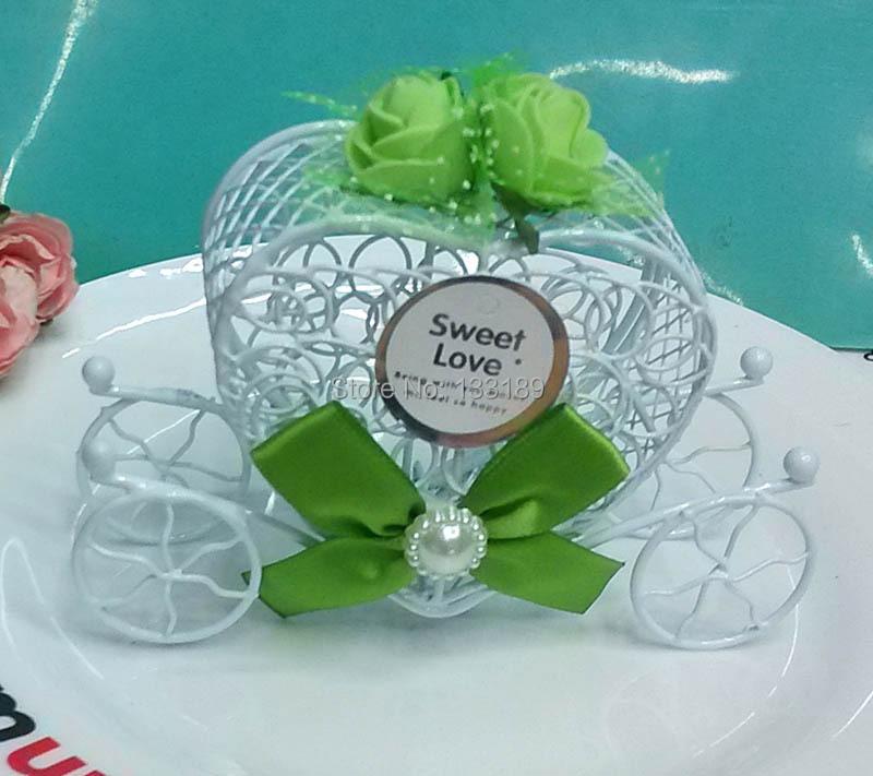 Wholesale 100pcs/LOT Iron Sweet Gift Box of Heart Carriage Wedding Favor White Iron Candy Box(China (Mainland))