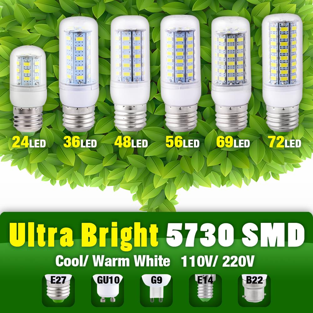 E27 LED E14 GU9 GU10 Led 5730 SMD Corn Led Bulb LED Corn Led Bulb LED Chandelier Candle Light 110V 220V 9w EB6032