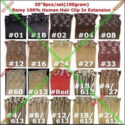 20 /100 24 /120 8pcs 2024 8pcs Remy Human Hair Clip In Extension