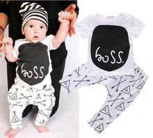 Newborn 2016 toddler baby boy clothing sets summer 2-piece outfits print t-shirt and pants black&white lovley boy clothes sets(China (Mainland))