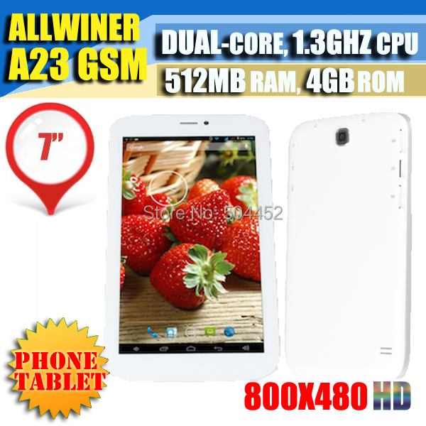 2014 Special Offer 7 Inch Phablet Allwinner A23 Dual Sim Card Gsm Unlocked 4gb Rom Phone Tablet PCs Google Play Youtube Skype(China (Mainland))