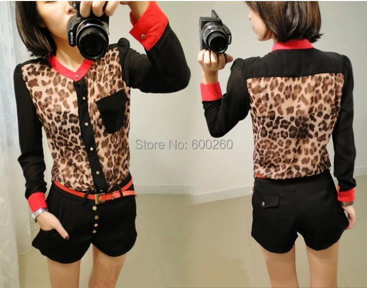 Hot Sale shirt women clothing 2014 New Fashion women blouse Chiffon Blouse Long Sleeve pocket Leopard patchwork shirt