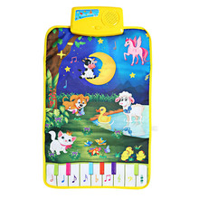 Modern Cartoon Cute Farm Animal Baby Musical Touch Play Gym Crawling Carpet Play Mat Language Learning Toy Gift For Kids(China (Mainland))