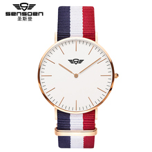2016 watches men luxury brand quartz women real leather nylon strap rose gold good Quality new sports casual vintage watch