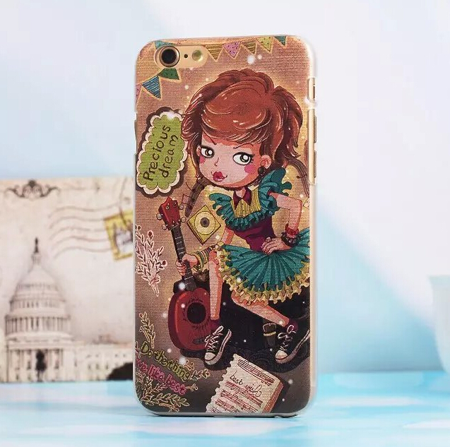 Precious Dream Guitar Girl 3D Case Cover For Apple iPhone 6 Case Retro 6 Series Emboss Cute Case For Phone(China (Mainland))