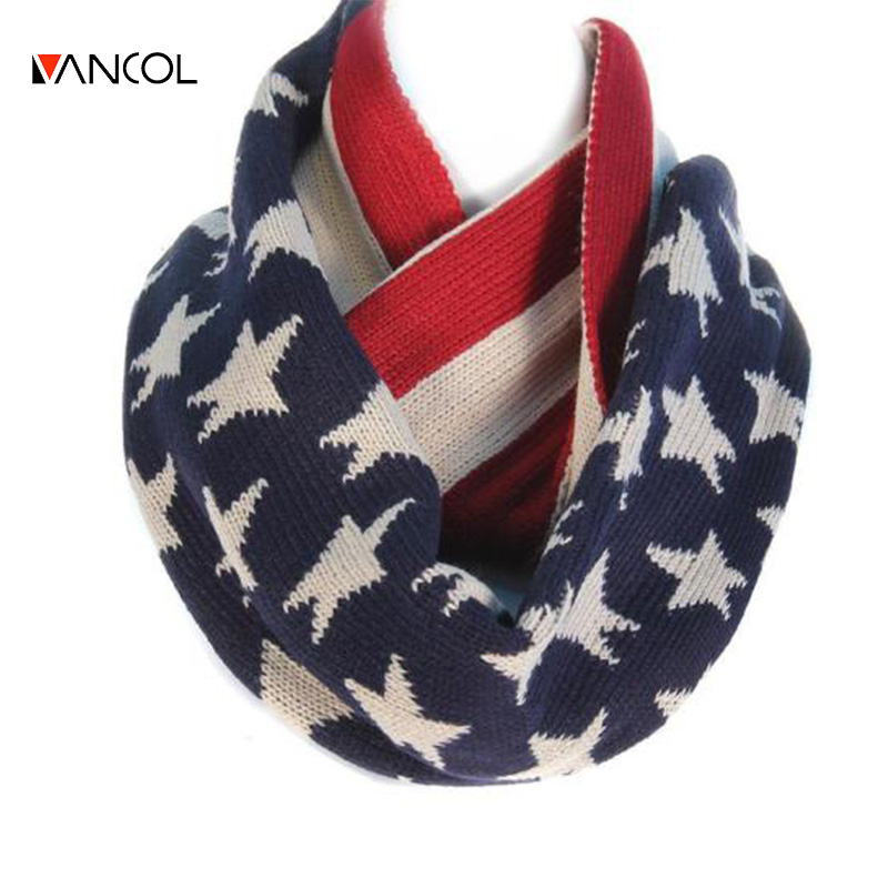 2015 Unisex Men Winter Christmas Shawl Warm Ring Loop Knit Pure Cashmere Red Blue Star Infinity Womens Wool American Flag Scarf(China (Mainland))