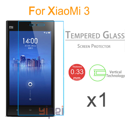 Toughened Protective Premium Tempered Glass Screen Protector Guard Film For Xiaomi 3 Mi3 M3(China (Mainland))
