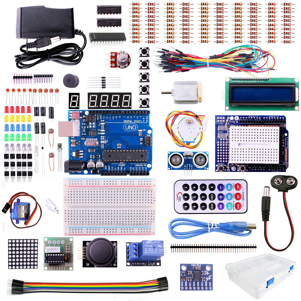 UNO R3 starter Kit for ARDUINO with Step Motor / Servo /1602 LCD / jumper Wire/ HC-SR04 Ultrasonic Sensor kit(China (Mainland))