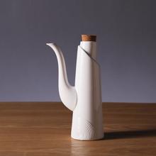 Fashion Modern Ceramic Oil Pot Porcelain Caster with Cork Brief Design Whorl Pattern Kitchen Ornament Dining Accessories