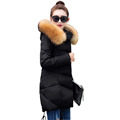2016 New Thick Warm Female Jacket Winter Down Coat Women's Hooded Big Fur Collar Long Parka Women Plus Size Jackets Outerwear