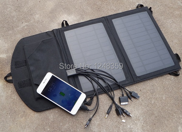 High Quality Portable 7W Solar Panel Charger hang in backpack For iphone /Moible Phone Dual USB Output Charger Free Shipping(China (Mainland))