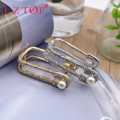 Hot Sale New Rhinestone Imitation Pearl U Shaped Double Finger Rings Fashion Metal Crystal Geometry Index Finger Ring For Women(China (Mainland))