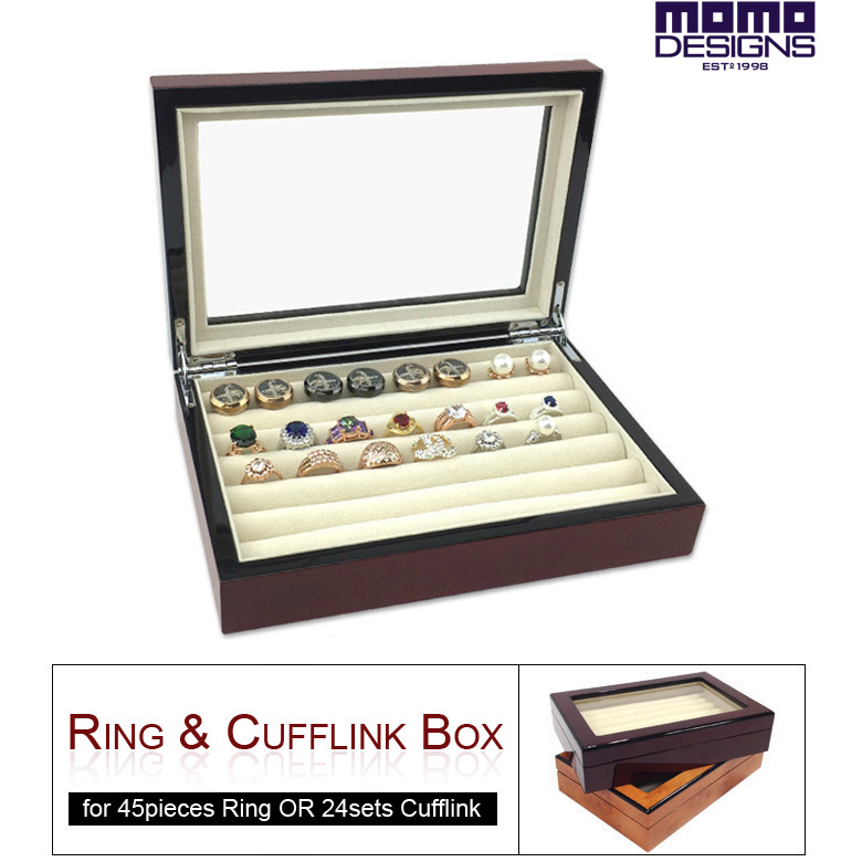 Wooden cufflink box HIGH END quality Ring Earring high gloss finish Cuff link Jewellery store storage case - MOMO Craft & Gift Co.,Ltd