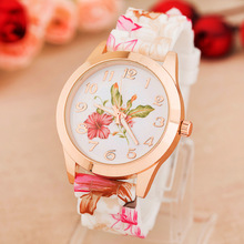 New Arrive Super Cool Fashion Quartz Watch Rose Flower Print Silicone Watches Women Watch Girls Floral Jelly Sports Wristwatches(China (Mainland))