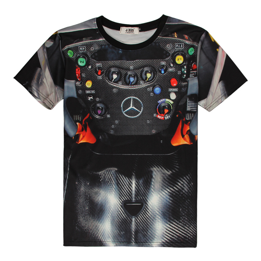 Formula One Mercedes Steering Wheel 3D Print T-shirt F1 vehicles buttons car Cotton Unisex Tee Shirts Casual Homme Loose Tops()
