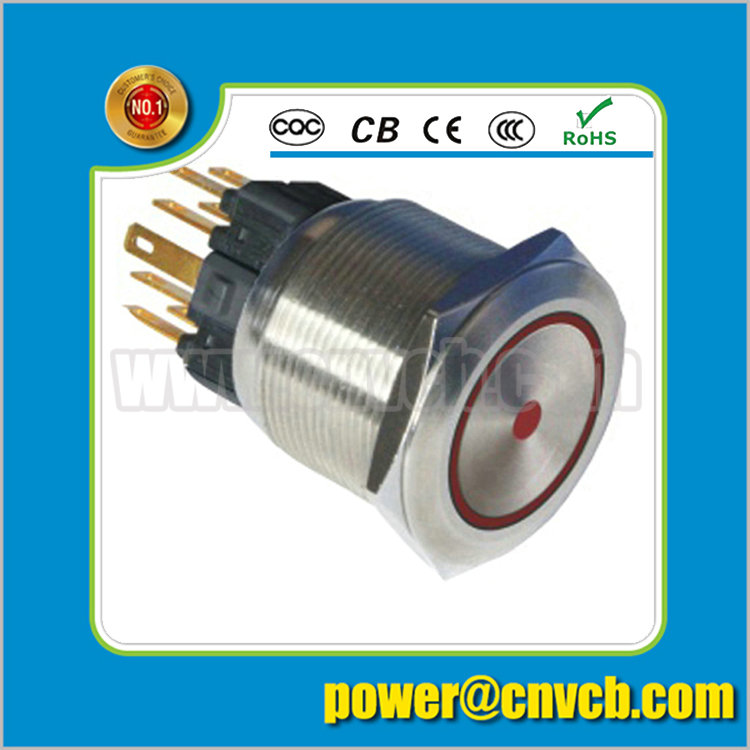 2505F 25mm Ring lamp brass doorbell 24VDC red led momentary metal push button switch(China (Mainland))