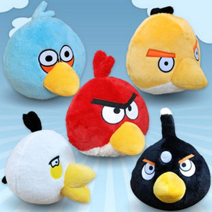 5pcs/1set 9cm Small pendant lovely animal round plush toy bird doll Children's birthday gift&present(China (Mainland))