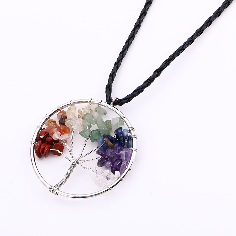 Hot Fashion Crystal Life Tree Quartz Chips Pendant Women Rainbow 7 Color Crystals For Wisdom Natural Stone Necklace(China (Mainland))