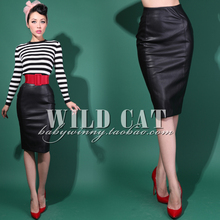 FREE SHIPPING Autumn and winter fashion suede hip slim all-match elastic pencil skirt/ faux leather/skin pink(China (Mainland))