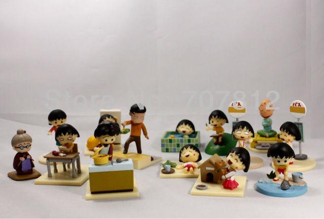 New  PVC  Box-Packed Cute Chi-bi Maruko Action figure 14PCS/SET 5CM High Quality Japanese  Anime figure Toys Free Shipping
