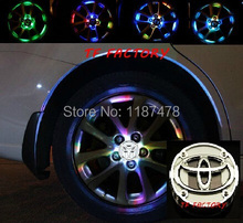 hub Wheel lights with toyota vw logo RGB Waterproof flash Glare Car Solar Power LED Wheel Energy Light Lamp decorative Lighting(China (Mainland))