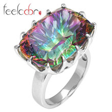 HUGE Gem Stone 23ct Genuine Rainbow Fire Mystic Topaz Ring Pure Solid 925 Sterling Silver UNIQUE Fashion Size 6 7 8 9(China (Mainland))