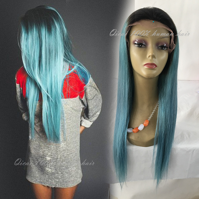 Ombre Blue Green Human Hair Wigs Brazilian Glueless Omber Lace Front Human Hair Ombre Teal Baby Hair Full Lace Short Bob Wig